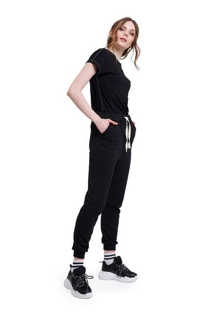 Mizalle - Üç İplik Bağcıklı Pantolon (Siyah)