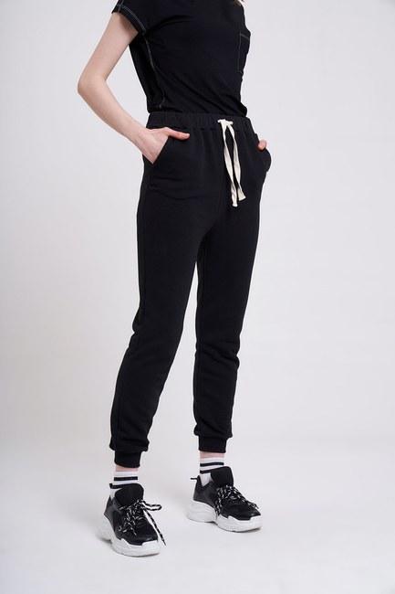 Üç İplik Bağcıklı Pantolon (Siyah) - Thumbnail