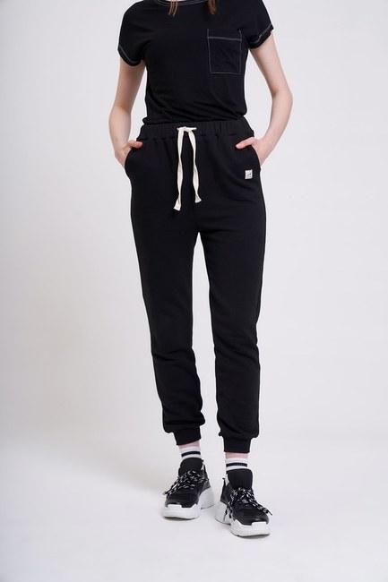 MIZALLE YOUTH - Üç İplik Bağcıklı Pantolon (Siyah) (1)