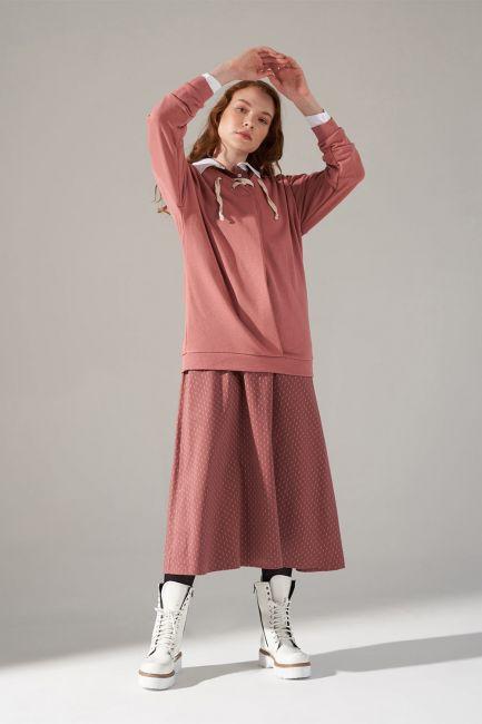 Mizalle - Üç İplik Bağcıklı Sweatshirt (Gül Kurusu)