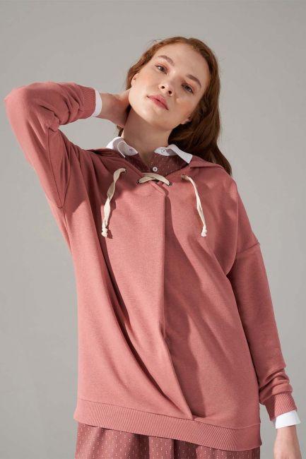 Üç İplik Bağcıklı Sweatshirt (Gül Kurusu) - Thumbnail