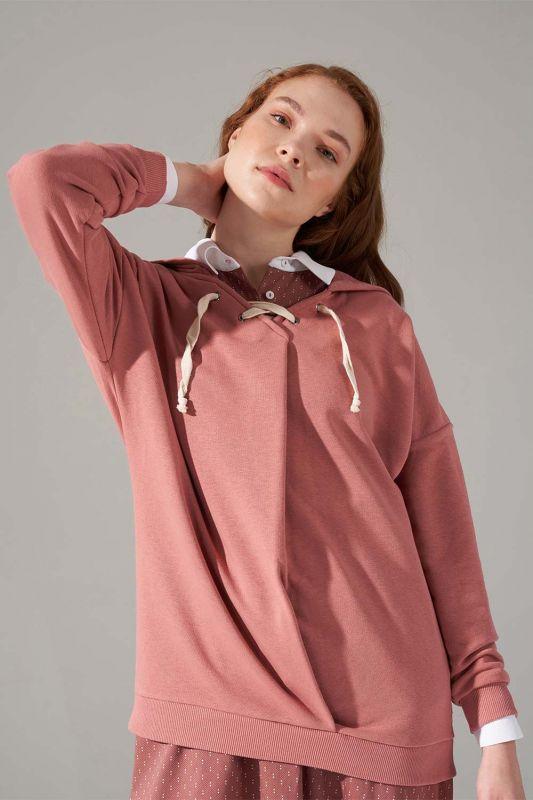 Üç İplik Bağcıklı Sweatshirt (Gül Kurusu)