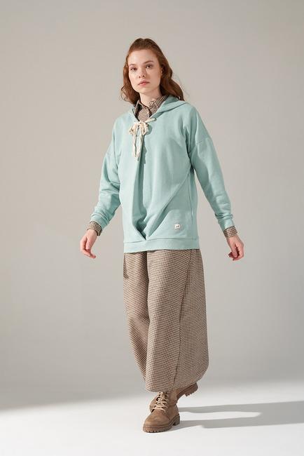 Mizalle - Üç İplik Bağcıklı Sweatshirt (Mint)