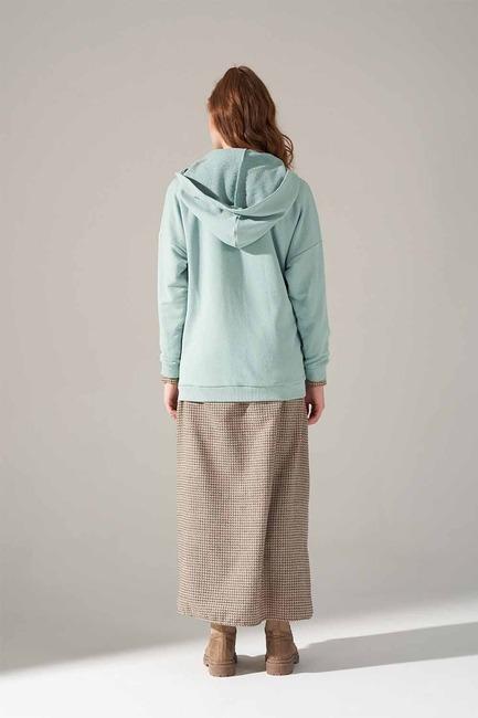 Üç İplik Bağcıklı Sweatshirt (Mint) - Thumbnail