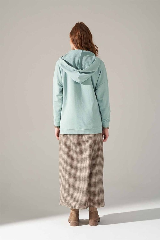 Üç İplik Bağcıklı Sweatshirt (Mint)