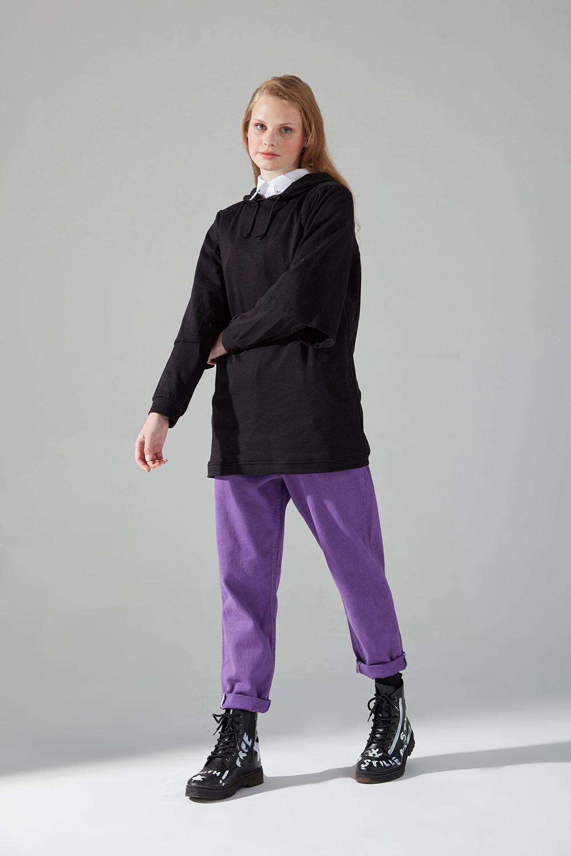 Mizalle - Üç İplik Bağcıklı Sweatshirt (Siyah)