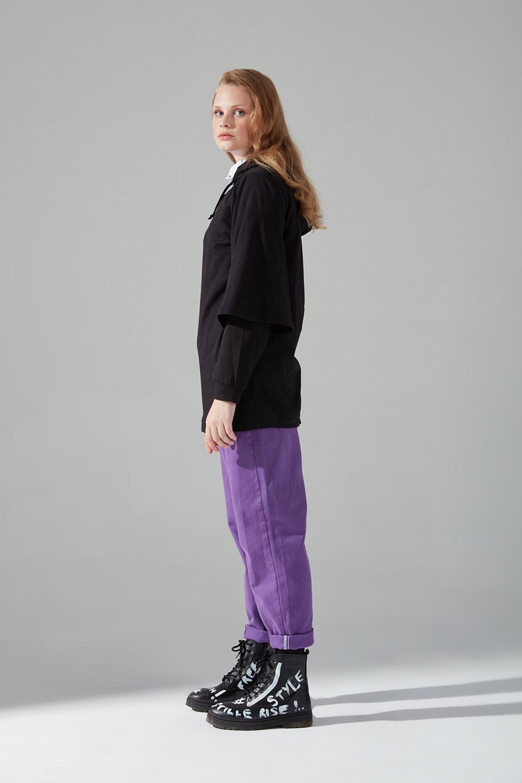 Üç İplik Bağcıklı Sweatshirt (Siyah) - Thumbnail
