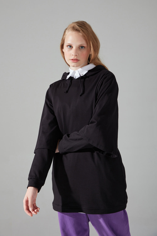 Üç İplik Bağcıklı Sweatshirt (Siyah)
