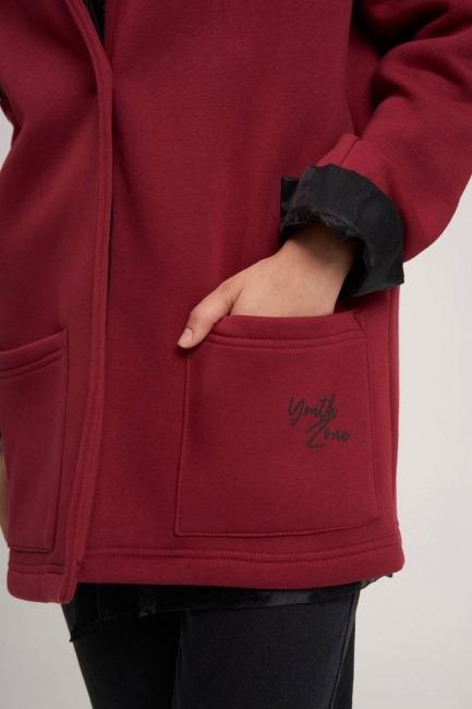 Üç İplik Ceket (Bordo) - Thumbnail