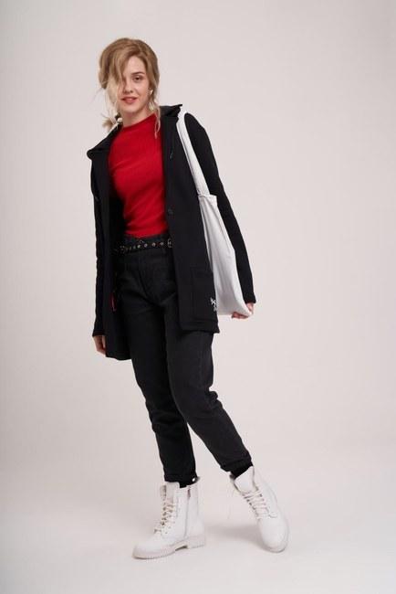 Mizalle - Üç İplik Ceket (Siyah)