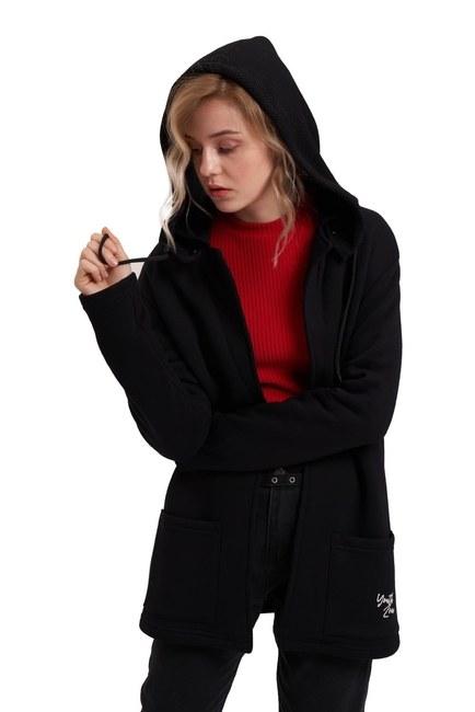 MIZALLE YOUTH Üç İplik Ceket (Siyah)