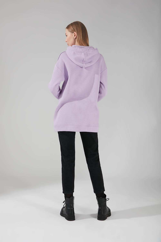 Üç İpllik Cepli Sweatshirt (Lila)
