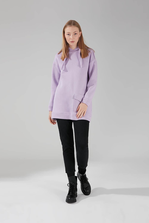 Üç İpllik Cepli Sweatshirt (Lila) - Thumbnail