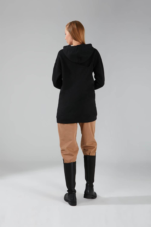 Üç İpllik Cepli Siyah Sweatshirt