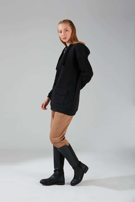 Üç İpllik Cepli Sweatshirt (Siyah) - Thumbnail