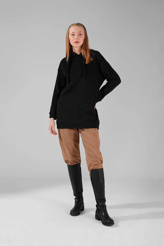 Mizalle - Üç İpllik Cepli Sweatshirt (Siyah)