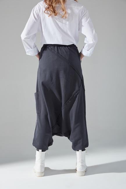 Üç İplik Dikişli Şalvar Pantolon (Antrasit) - Thumbnail