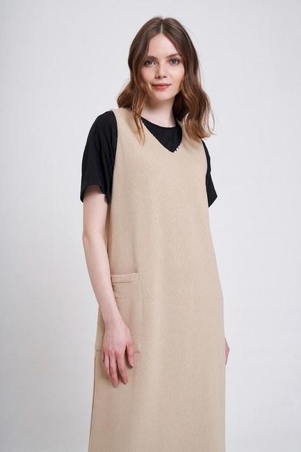 Üç İplik Jile Elbise (Bej) - Thumbnail