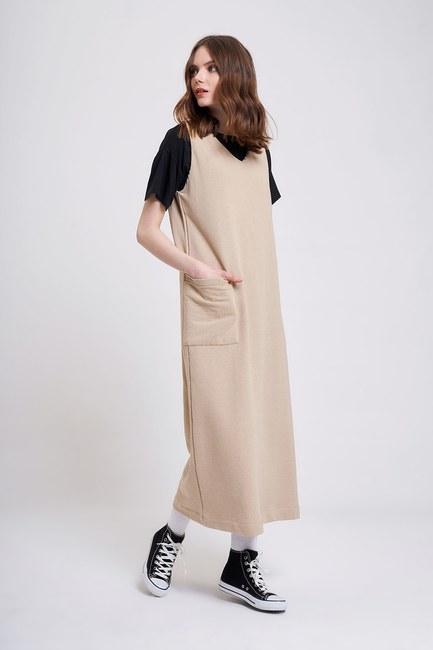MIZALLE YOUTH - Üç İplik Jile Elbise (Bej) (1)