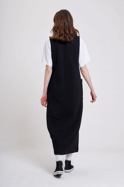 Üç İplik Jile Elbise (Siyah) - Thumbnail