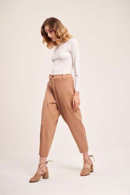 Üç İplik Önü Düğmeli Pantolon (Bej) - Thumbnail