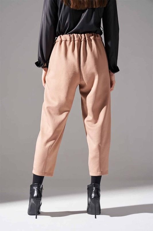 Üç İplik Önü Düğmeli Pantolon (Bej)