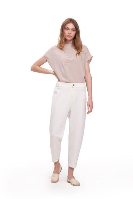 Üç İplik Önü Düğmeli Pantolon (Ekru) - Thumbnail