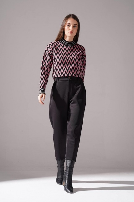 Mizalle - Üç İplik Önü Düğmeli Pantolon (Siyah)