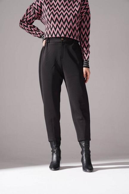 Üç İplik Önü Düğmeli Pantolon (Siyah) - Thumbnail