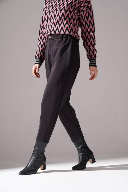 Üç İplik Önü Düğmeli Pantolon (Siyah)