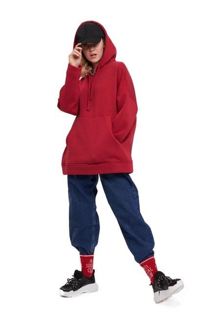 Mizalle Youth 3 İplik Şardonlu Sweatshirt (Bordo)