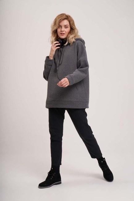 MIZALLE YOUTH - 3 İplik Şardonlu Sweatshirt (Melanj) (1)
