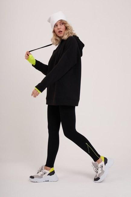 MIZALLE YOUTH - Üç İplik Şardonlu Sweatshirt (Siyah) (1)