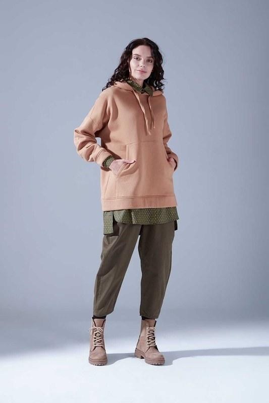 3 İplik Şardonlu Sweatshirt (Taba)