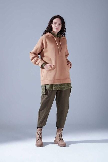 3 İplik Şardonlu Sweatshirt (Taba) - Thumbnail