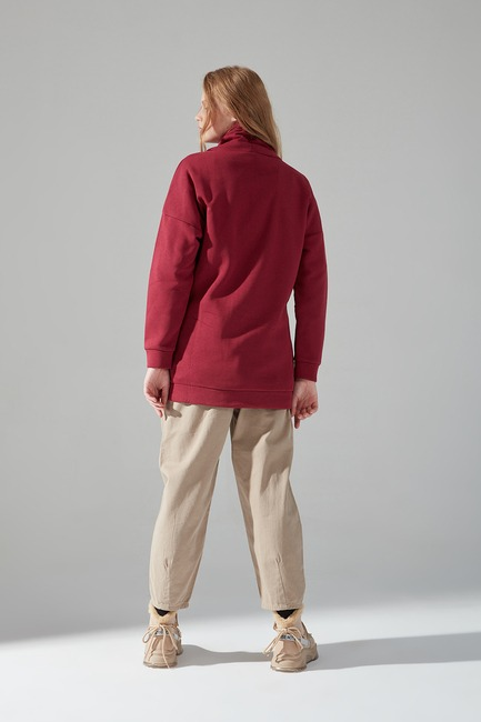 Üç İplik Bordo Sweatshirt - Thumbnail