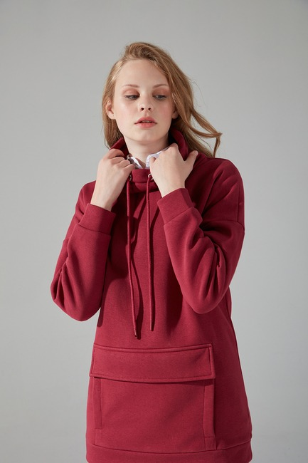 Üç İplik Sweatshirt (Bordo) - Thumbnail