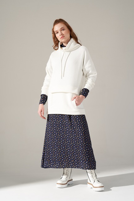 Mizalle - Üç İplik Sweatshirt (Ekru)