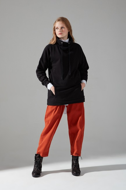Mizalle - Üç İplik Sweatshirt (Siyah)