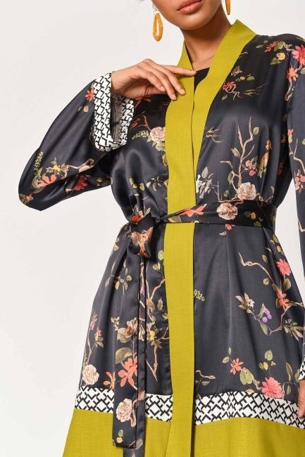 Three-Piece Patterned Kimono (Black/Green) - Thumbnail