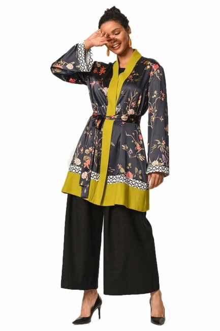 Three-Piece Patterned Kimono (Black/Green) - Thumbnail
