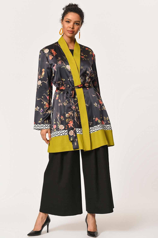 MIZALLE Three-Piece Patterned Kimono (Black/Green) (1)