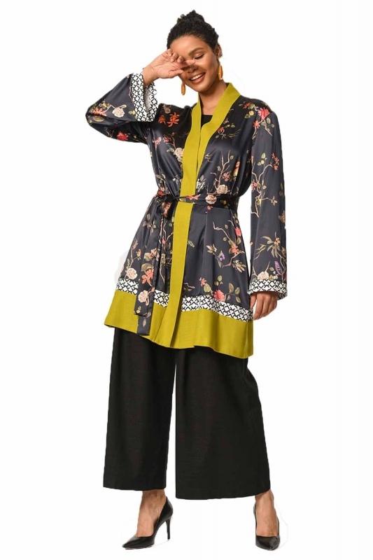 Üç Parçalı Desenli Kimono (Siyah/F.Yeşili)