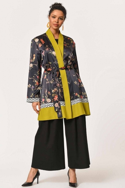 MIZALLE - Üç Parçalı Desenli Kimono (Siyah/F.Yeşili) (1)