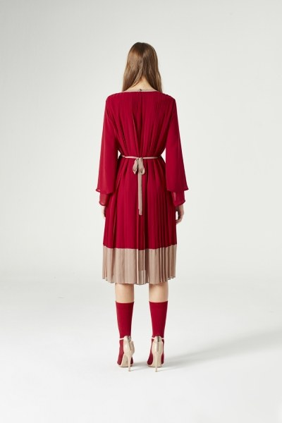 Tricolor Pleated Dress (Claret Red) - Thumbnail