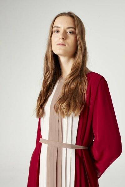 MIZALLE - Üç Renkli Pliseli Elbise (Bordo) (1)