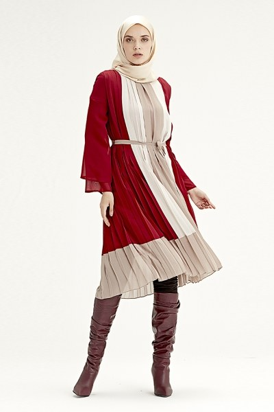 Üç Renkli Pliseli Elbise (Bordo) - Thumbnail