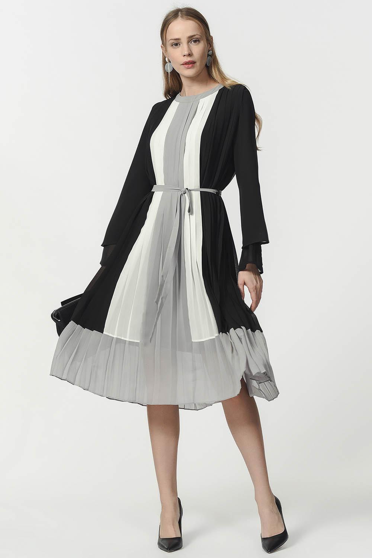 MIZALLE فستان بليسي ثلاثي اللون (اسود) (1)