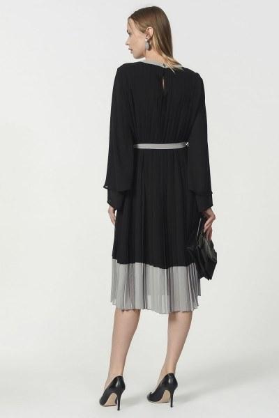 فستان بليسي ثلاثي اللون (اسود) - Thumbnail
