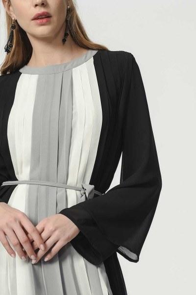 Üç Renkli Pliseli Elbise (Siyah) - Thumbnail